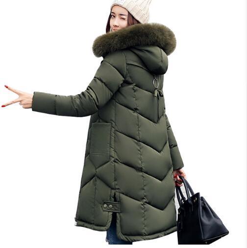 Women jackets 2017 Fur Hooded Jacket for women Padded Cotton Down Winter Coat women Long Parka Womens Coats Clothing Plus size