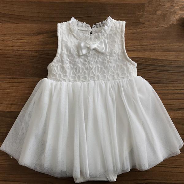 Кружева Цветы Sleevless Новорожденного Девочка Платье Принцесса Девочек Одежда Комбинезон Наряды Белый Летние Платья
