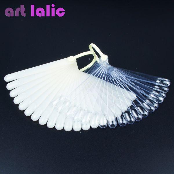 Art lalic 20Pcs False Nail Art Board Tip Stick Polish Gel Foldable Display Beauty Practice Fan Clear Natural Fake Nails Y18101101