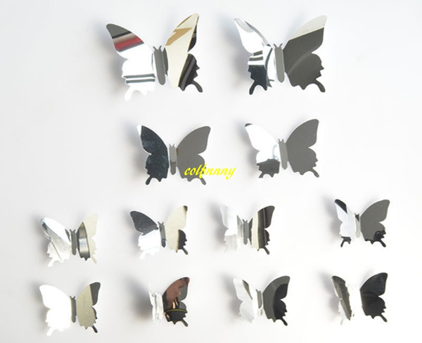 best selling 120sets lot Fast 12 Pcs set DIY Mirror 3D Butterfly Wall Stickers Home Decor Kids Gift Party Wedding Decor Home Decoration B5301