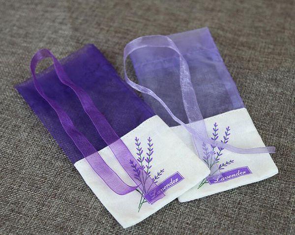 100pcs/lot Purple Cotton Organza Lavender Sachets DIY Dried Flower Sweet Bursa Wardrobe Mouldproof Fume Gift Bag