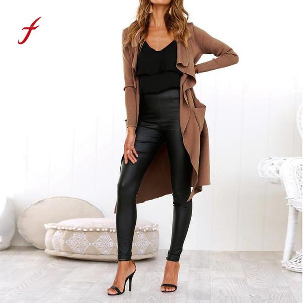 Feitong jaqueta de couro Mulheres Manga Longa De Couro Frente Aberta Curto Cardigan Terno plus size jaqueta Sólida Longo Casaco jaqueta
