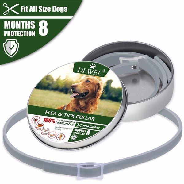 Dewel Hundehalsband Anti Floh Moskitos Zecken Insekt Wasserdicht Kräuterhalsband 8 Monate Schutz Hund Zubehör