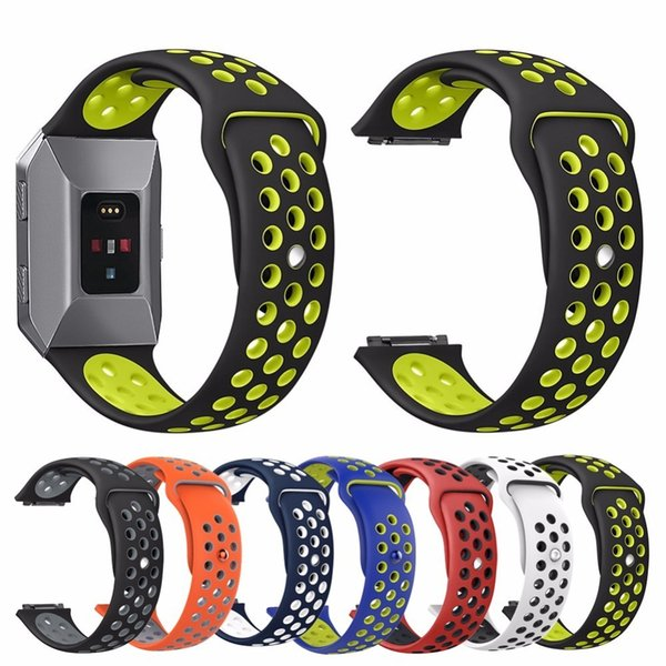 Silicone Sport NK More Hole Breathable Band Strap Replacement Wrist Band Soft Strap Dual Color Cover for Fitbit Ionic Smart Watch 7 Colors