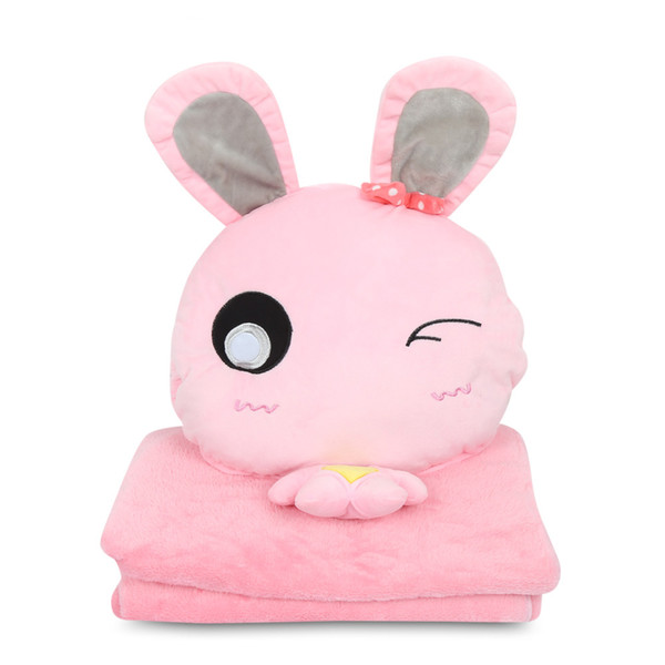 Lovely Cartoon PillowBlanket Set Per Home Office Auto Morbido Peluche Cuscino Chiusura con cerniera Giù Filtro in cotone Felpa Coperta