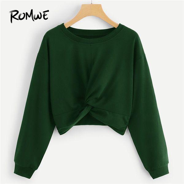 Acheter Vert Twist Solide Crop Sweat Femmes Casual Printemps Automne Plaine Vêtements Hauts Femme Col Rond Manches Longues Pulls De $23.31 Du Hongyeli
