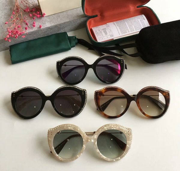 Women 0214s Cat Eye Sunglasses with stones Havana Brown Shades Designer Sunglasses/gafa de sol Brand New with Box