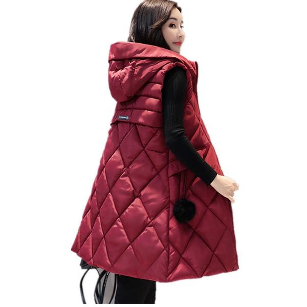 2017 autunno inverno Slim Long Warm Vest femminile giù cotone cardigan senza maniche gilet giacche per le donne Gilet con cappuccio ragazza Femme