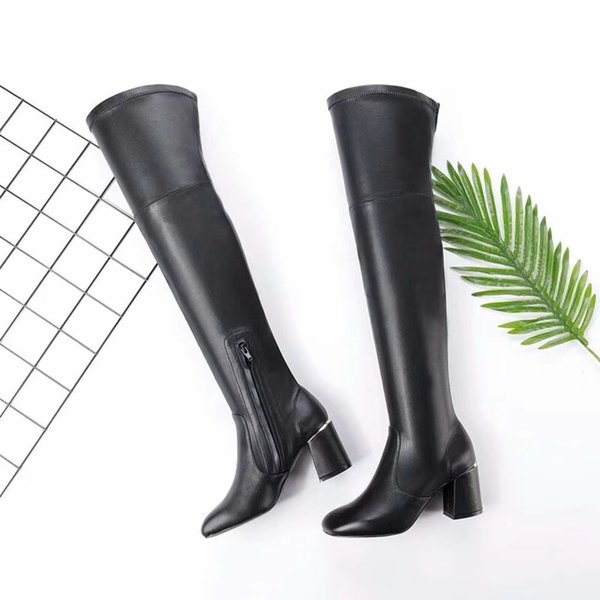 Real Leather Women Over Knee High Boot High Quality Long Boots 2018 New Stylish High Heels Chunky Heels Black Color Winter Fashion Shoes
