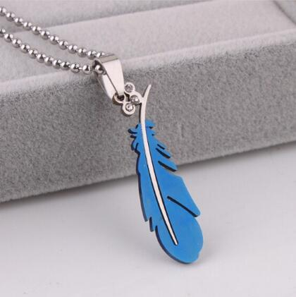 hot new Fashion feather encrusted with diamond pendant titanium steel necklace stainless steel pendant necklace stylish classic delicate