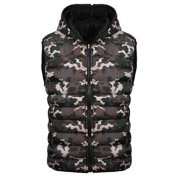 Erkek Giyim Kış Kolsuz Ceketler Kalınlaşma Moda Sıcak Palto Rahat Kamuflaj Baskılı Aşağı Mens Aşağı Yelekler A5070