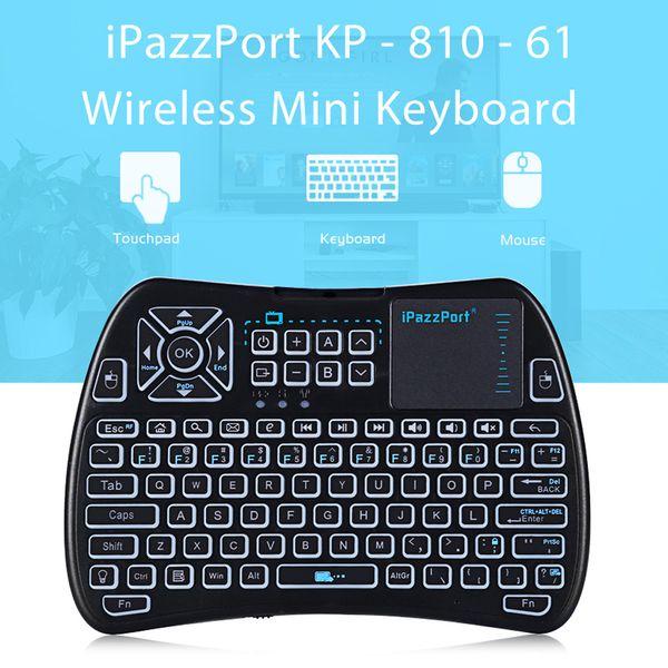 iPazzPort KP - 810 - 61 Wireless Mini Tastatur Touchpad Hintergrundbeleuchtung 2,4 GHz WiFi IR Learning Air Maus für Android TV BOX Mini PC