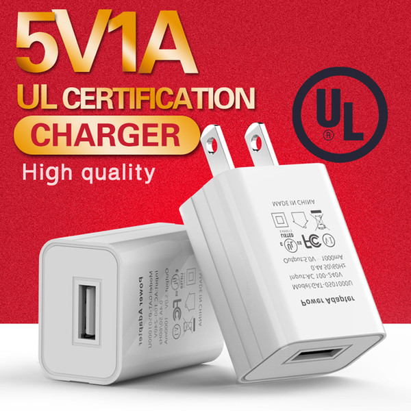 Universal UL 5V 1A USB Wall Travel Charger US EU Plug Portable Power Adapter For iPhone Samsung Mobile Cell Phone