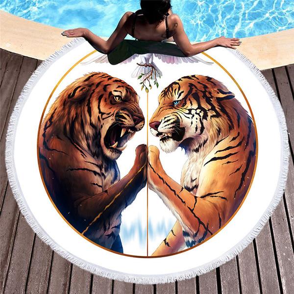 Toalla de playa de la tela de la microfibra 150cm Pañuelo redondo de los deportes de la paz Toalla de la comida campestre de la toalla del tigre de la paz DHL libre 556