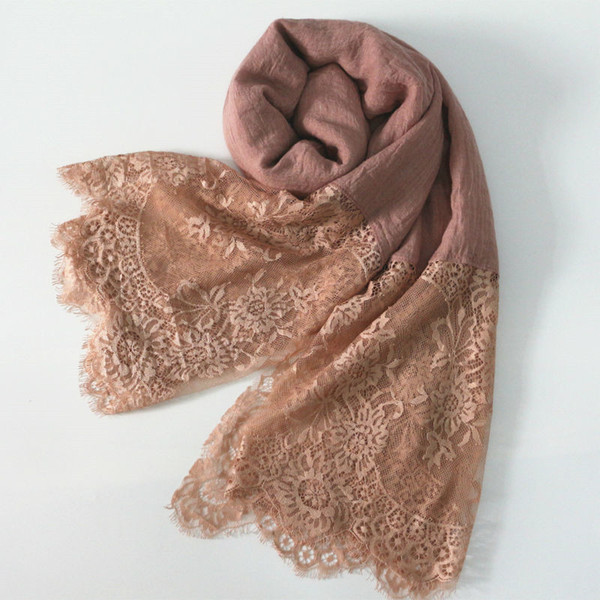 2018 fashion lace scarves winter/autumn shaws soild elegant lady simple flowers high quality soft 30colours cotton and viscose Y18102010