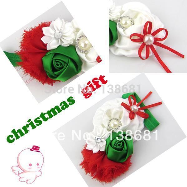 Nuevo 2015 Baby Girl Rosette Bow Satén Flor color de rosa Shabby Chic Vendimia Rhinestone Estilo de pelo de Navidad Niños Accesorios