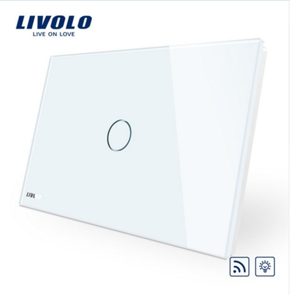 Livolo Remote Switch, AU/US Standard, VL-C901DR-11,White Crystal Glass Panel, Wall Light Wireless Remote Dimmer Switch