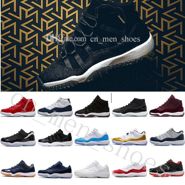 2018 Cheap NEW 11 XI Black Gold Velvet Heiress Mens Women Basketball Shoes Wool Sneakers s 11s Trainers Man Sports Shoe US 5.5-13 Eur 36-47