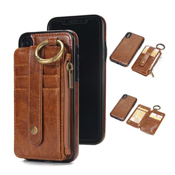Per iPhone X 7 S8 Plus Cuoio Wallect Custodia protettiva per cellulare di lusso Custodia posteriore magnetica con sacchetto di carta di buona qualità
