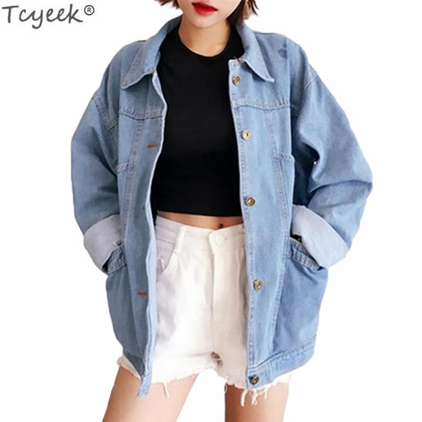 Tcyeek Denim Jacket for Women 2018 Spring Long Sleeve Female Jackets Office Ladies Autumn Coat Fashion Loose Style Coats LWL315