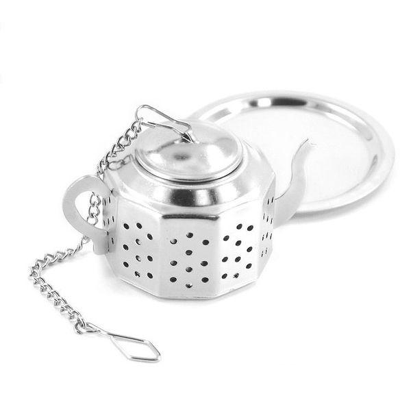 Teekanne Topfform Edelstahl Blatt Tee Infuser Filter Sieb Ball Tee Werkzeug Kostenloser Versand wen7067