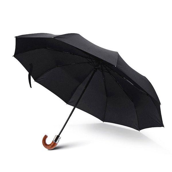 10K men umbrella fully automatic hook tri-folded umbrella handle high-end large rain or shine corporation