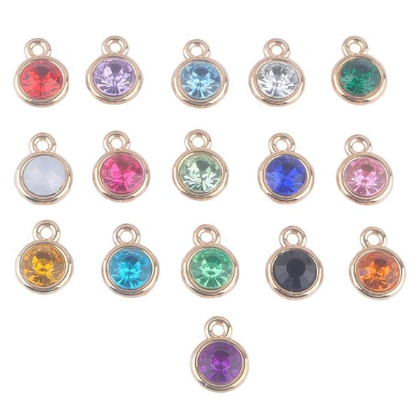 12pcs/lot mixed Birthstone charms 11mm Acrylic gold pendant for Diy Personalized Necklace and Bracelet Free shipping XY160419