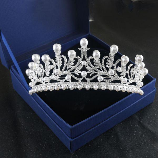 Baroque Silver Crystal Leaf Bridal Tiaras Rhinestone Pearl Flowers Pageant Crown for Bride Headpieces Wedding Hair Accessories