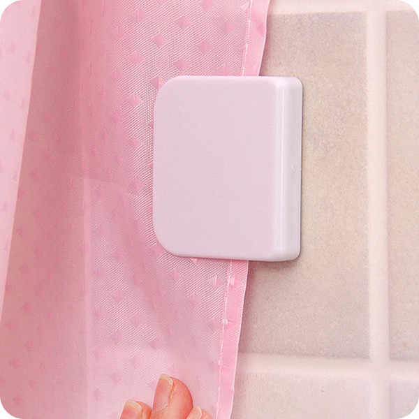 2pcs New shower curtain clip bathroom curtain buckle viscose dodechedron Wind fixed hook curtain holder Seamless sticky hooks