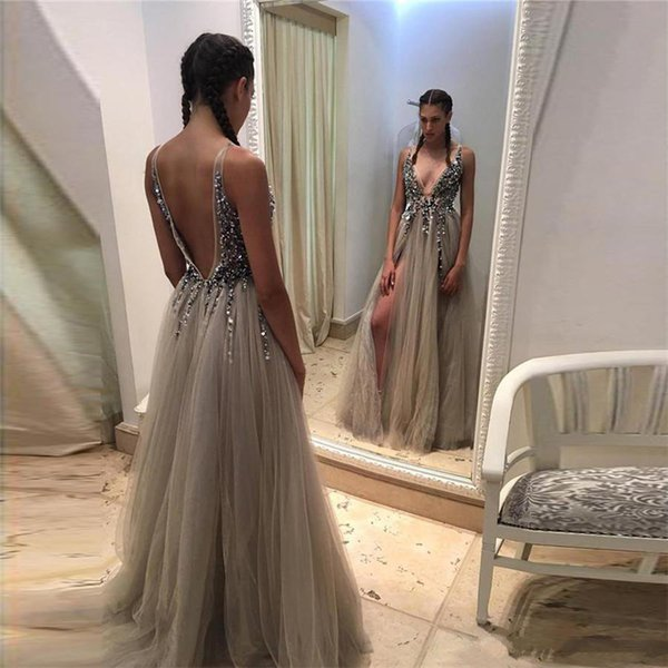 Modest Hot Split Evening Dresses Plunging Neckline Crystal Prom Gowns Custom made Tulle Party Dress Real Pictures