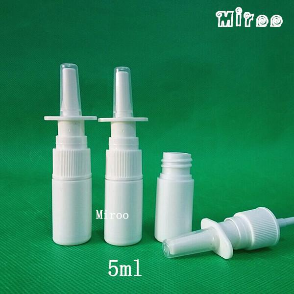 Hotsale 100 sets 5ml Empty White HDPE Nasal Spray Bottle with 18/410 Nasal Mist Spray Pump