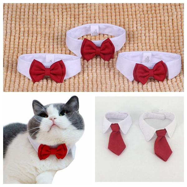 White+Red Pet Dog Cat Collar Princess Gentleman Necklace Adjustable Necktie Bowknot Bowtie Bow Neck Tie Wedding Collars DDA417