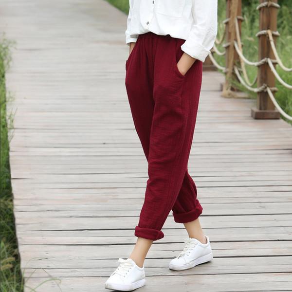 Elastic waist Solid Cotton Women Harem Pants Black White Red Yellow Casual Harem Pants Summer Street Brand Design Trousers C075 S914
