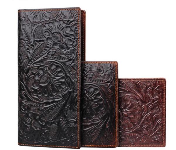 Florals Printing Herrenportemonnaie Echtes Leder Herren lange Clutch Tasche Retro Handmade Clutch Geldbörse mit Münzfach Reißverschluss Reisebrieftasche