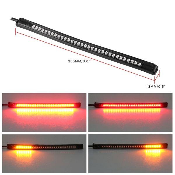2XUniversal Flexible LED Motorcycle Brake Lights Turn Signal Light Strip 48 Leds License Plate Light Flashing Tail Stop Lights
