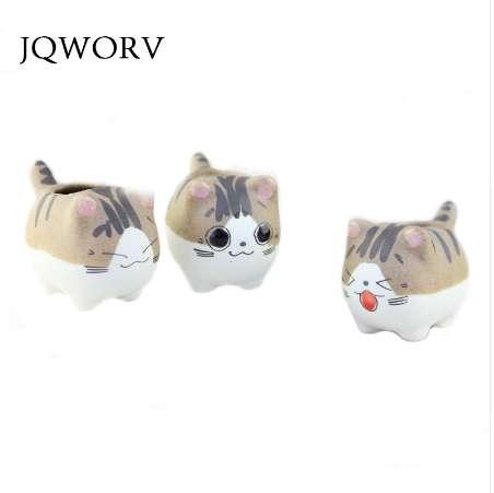 JQWORV Cheese cat resin flower pot cute small size vase flowerpot cute animals kitten pot succulent plant plant pot gift