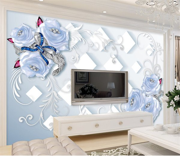 Blue Rose Flower Wallpaper Abstract Wall Paper Mural for Living Room Floral Wallcoverings papier peint mural 3d papel de parede