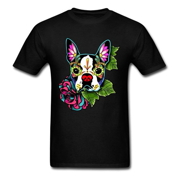Cool Slim Fit Letter Printed Boston Terrier - Day of the Dead Sugar Skull Dog Round Collar Hot Cheap Create T Shirt Man