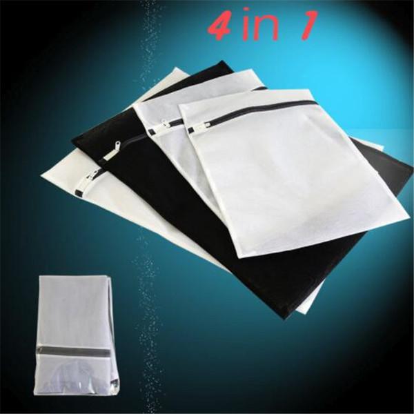 Çamaşır Torbası 4'lü Paket (2 Orta Boy 2 Büyük) Hassas Hasır Çamaşır Torbası Sutyen İç Çamaşır Kurutma Torbası (Siyah Beyaz)