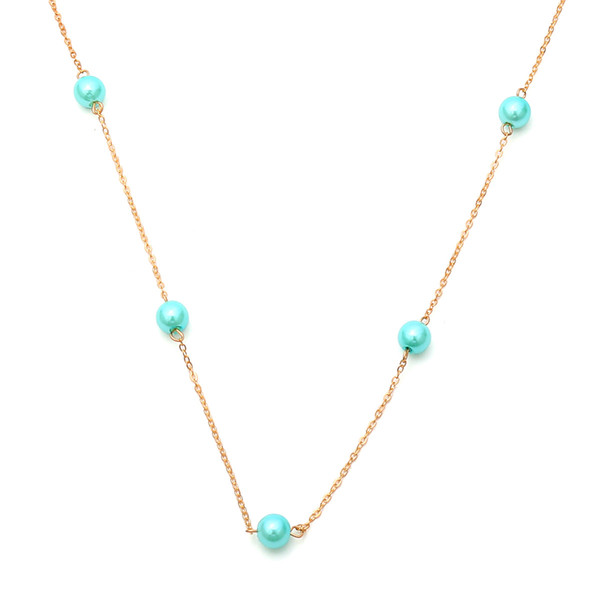 Collier joker simple long collier de pierre de pin perle multicolore