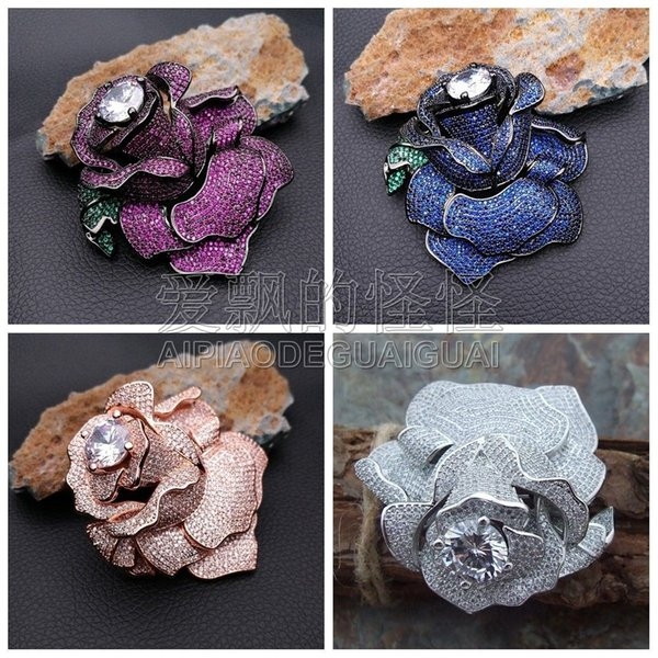 1pc 60x63mm CZ Crystal Pave Rose Flower Jewelry Brooch Connector