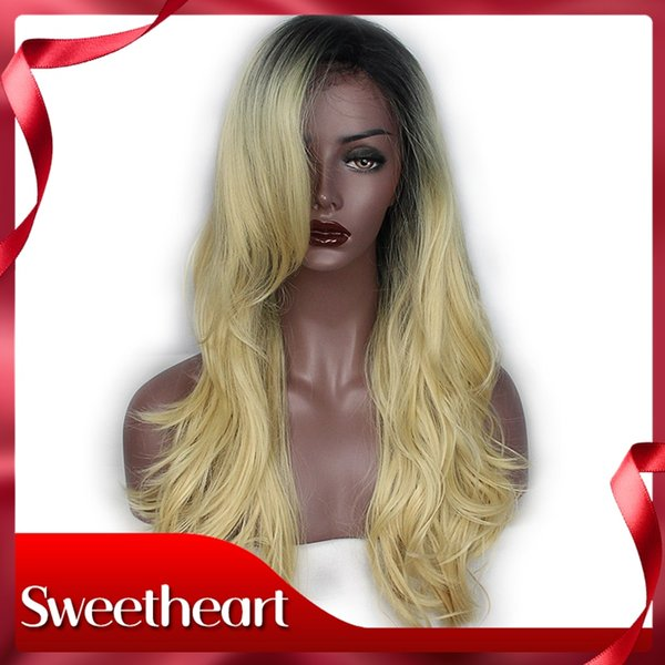 New Style Cosplay Ombre Blonde Long Natural Wave Lace Front Wigs With Bangs Natural Synthetic Wavy Hair Cheap Wigs For Women 180 Density