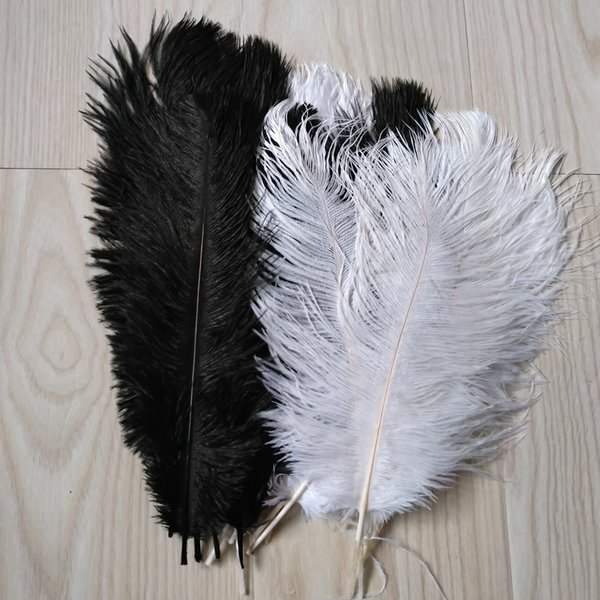 factory price 200pcs/lot 14-16inch Ostrich Feather Plume White&Black,Feather Centerpieces wedding centerpiece party event supply decor z134