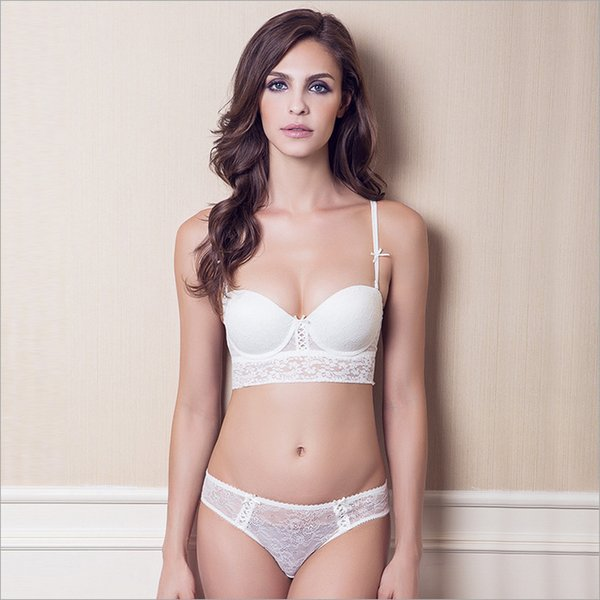 2018 new arrival hot luxury lace 1/2 cup Y buckle beauty white back sexy women Lingerie push up bra set size ABC70-85