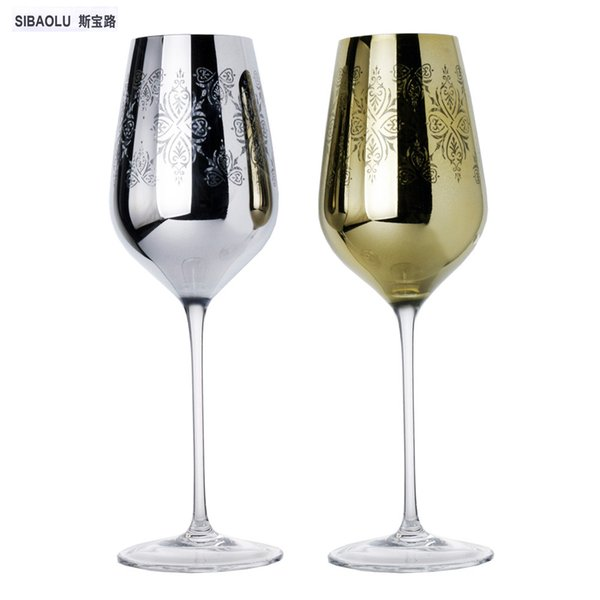 wine glass decorations golden and silver plating carve patterns crystal wine glasses for party cups for wedding gift