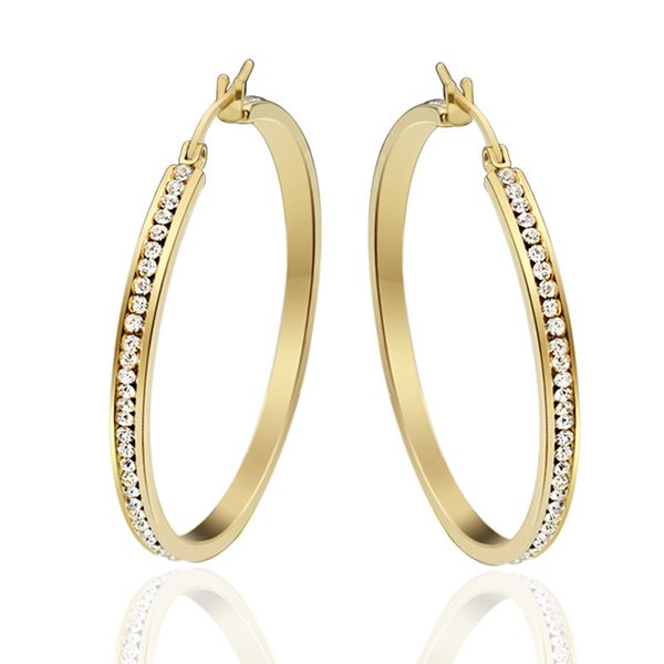 Large Big Hoop Earrings for Women Gold Color Titanium Stainless Steel Shiny Full Rhinestone Stone Earring Best Birthday Gift