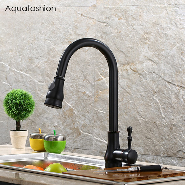 Black Kitchen Faucet Pull Out Kitchen Tap Mixer Black Oil Rubbed Bronze Cold and Hot Kitchen Tap