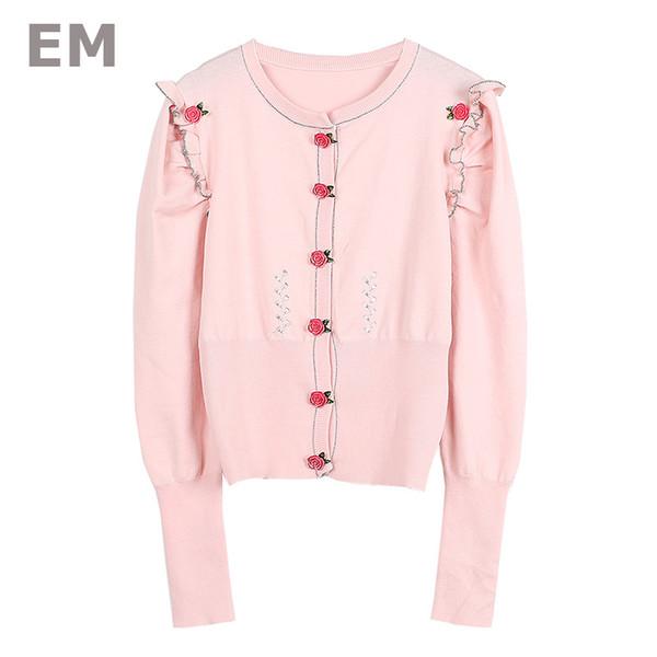 EHMAXRTH Boutons De Fleur En Métal Coréens Tricotés Chandails Hauts Sauvage 2018 Nouveau De Luxe Femmes Super Qualtiy Cardigans À Manches E8707