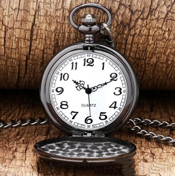 Reloj de bolsillo vintage con cadena para Hombre Mujer Plata Oro Negro Polaco Reloj de cuarzo Joyería de moda