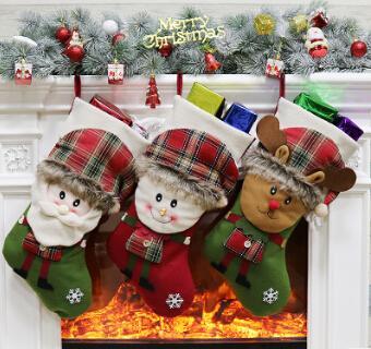 Noel Stocking Noel Çorap Noel Hediye Çantası Çocuk Noel Baba Kardan Adam Elk Dekorasyon Ile Şeker Tutucu Çanta